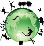 Erdball mit einigen Tieren und Pflanzen