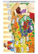 Marktstand mit Gemüse und Obst im Winter