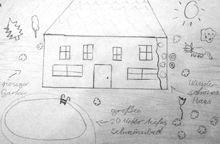 Kinderzeichnung Eines Idealen Hauses